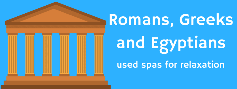 Romans, Greeks, Egyptians used spas for relaxation.