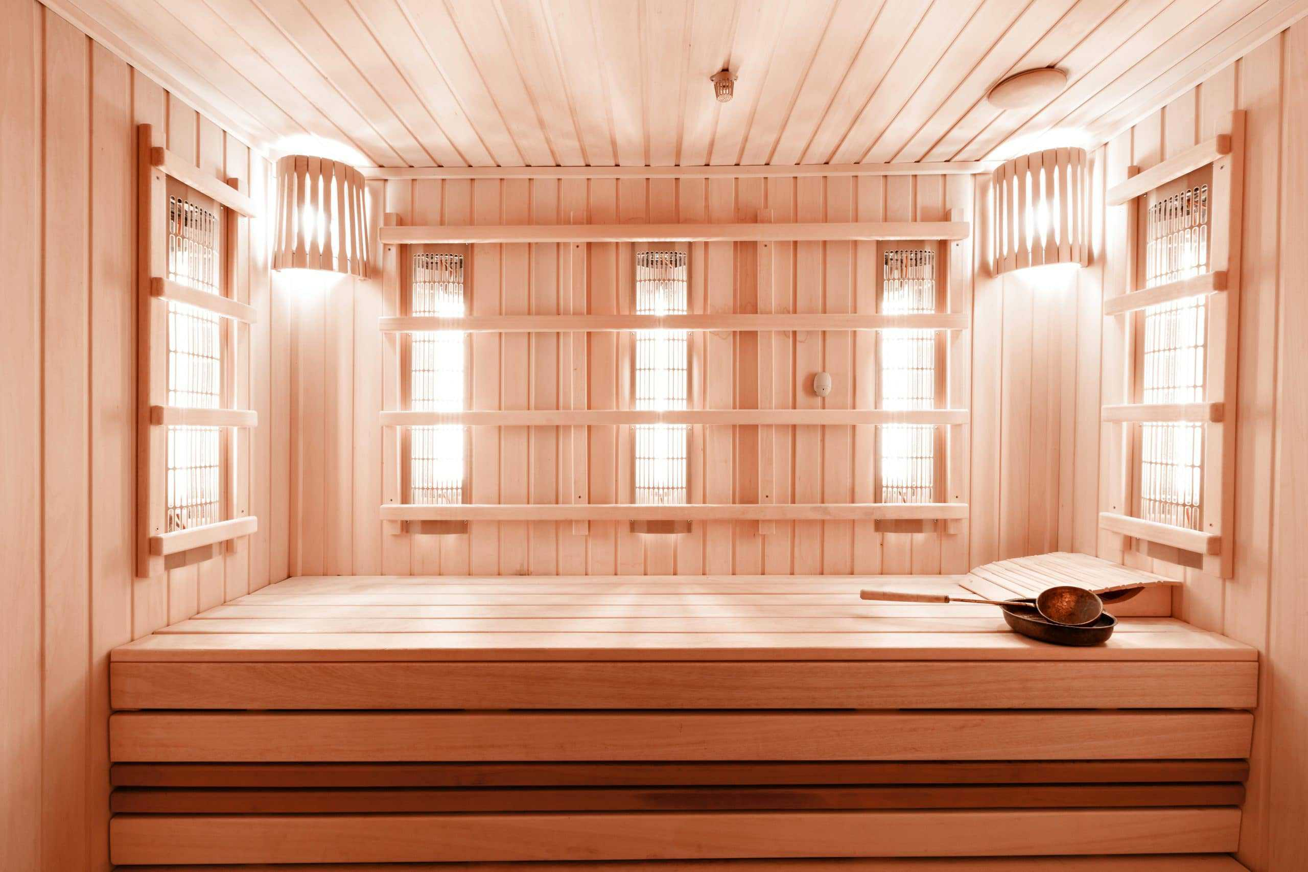 Interior of Finnish infrared sauna